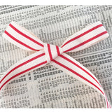 15mm Red & Cream Ticking Stripe Polyester Ribbon - SweetpeaStore
