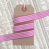 16mm Berry Purple & White Nautical Stripe Ribbon - SweetpeaStore