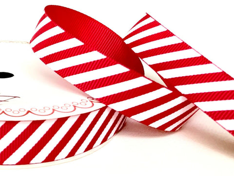 16mm Red & White Stripe Candy Cane Grosgrain Ribbon - SweetpeaStore