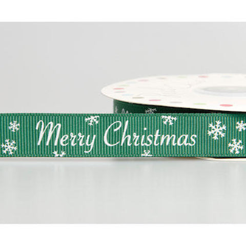 16mm Merry Christmas Snowflake Green & White Grosgrain Ribbon - SweetpeaStore