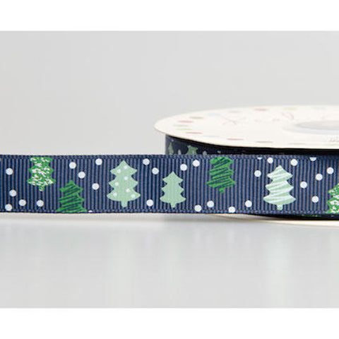 16mm Navy Grosgrain Christmas Tree & Snow Ribbon - SweetpeaStore