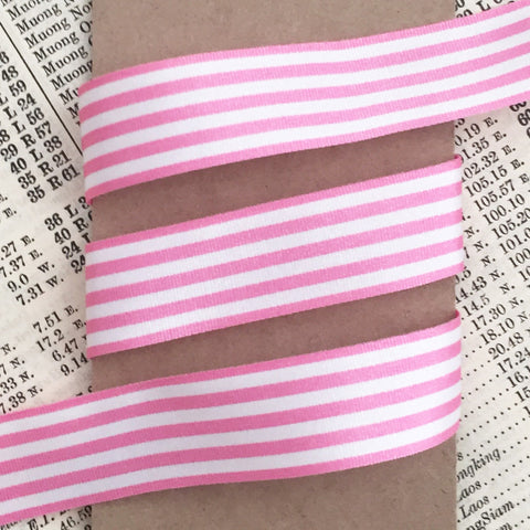 16mm Pink and White Nautical Stripe Ribbon - SweetpeaStore
