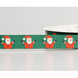 16mm Jolly Santa Printed Green Grosgrain Christmas Ribbon - SweetpeaStore