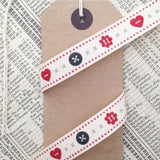 15mm Cute Button and Cross Stitch Printed Grey Cream Red Ribbon - SweetpeaStore