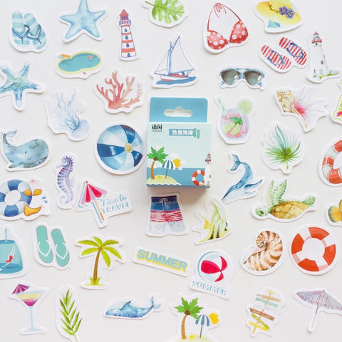 Set of 50 Paper Beach Summer Holiday Mini Box Stickers - SweetpeaStore