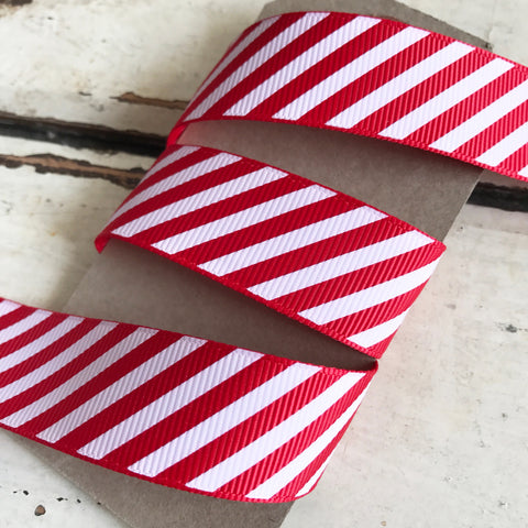 22mm Red & White Stripe Candy Cane Grosgrain Ribbon - SweetpeaStore