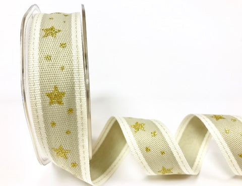 25mm Gold & Cream Stitched Edge Gold Metallic Star Print Christmas Ribbon - SweetpeaStore