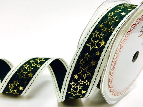 25mm Gold & Green Stitched Edge Gold Metallic Star Print Christmas Ribbon - SweetpeaStore