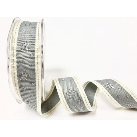 25mm Grey & White Stitched Edge Silver Star Print Christmas Ribbon - SweetpeaStore