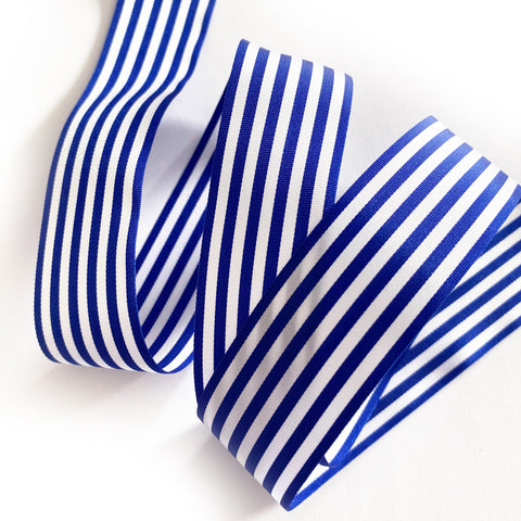 25mm Royal Blue & White Nautical Stripe Ribbon