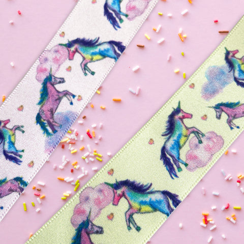 25mm Pink or Lemon Dreamy Unicorn Polyester Satin Ribbon - SweetpeaStore