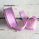 25mm Pink & White Nautical Stripe Ribbon - SweetpeaStore