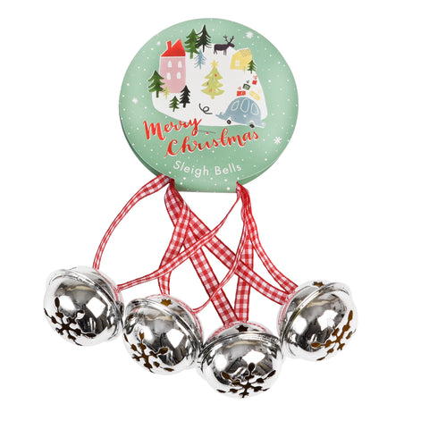 Set Of 4 Christmas Silver Jingle Bells - SweetpeaStore