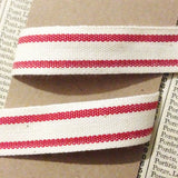 15mm Red & Cream Ticking Stripe Cotton Ribbon - SweetpeaStore