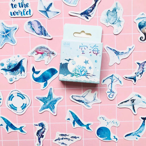 Set of 50 Ocean & Sea Beach Holiday Mini Box Stickers - SweetpeaStore