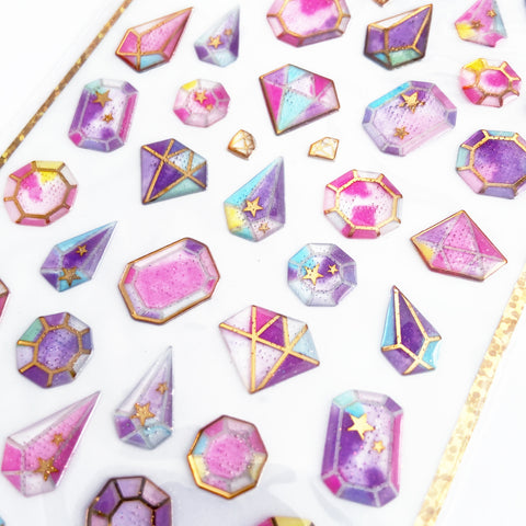 Set of 3D Pink & Gold Diamond Jewel Gem Stickers - SweetpeaStore