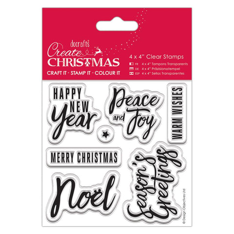 "Set of 7 Christmas Sentiments Clear Cling Stamps 4"" x 4"" - docrafts Craft Stamp - SweetpeaStore"