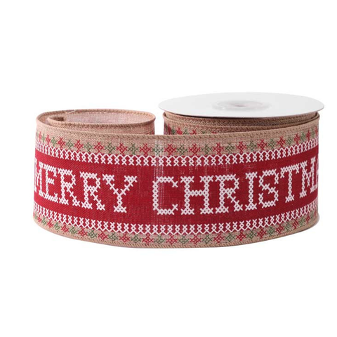 63mm x 10 yard Roll Merry Christmas Cross Stitch Red White Print Hessian Ribbon - SweetpeaStore