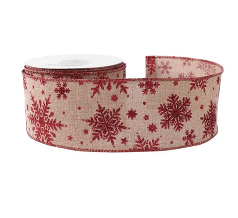 63mm x 10 yard Roll Wired Christmas Luxury Christmas Red Glitter Snowflake & Natural Jute Ribbon - SweetpeaStore