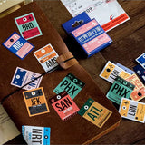 Set of 46 Vintage Airport Ticket Travel Luggage Label Mini Box Stickers - SweetpeaStore