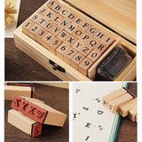Wooden Uppercase Alphabet & Number Stamp Kit With Mini Black Ink - SweetpeaStore