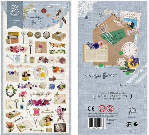 Antique Floral Vintage Objects Transparent Sticker Sheet - SweetpeaStore