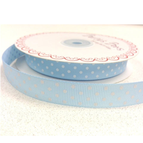 16mm Baby Blue & White Polka Dot Spot Grosgrain Ribbon - SweetpeaStore