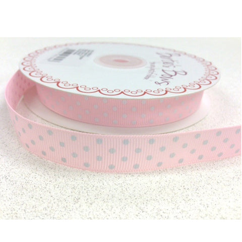 16mm Baby Pink & White Polka Dot Spot Grosgrain Ribbon - SweetpeaStore