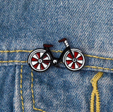 Black & Red Bicycle Enamel Pin Badge - SweetpeaStore