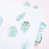 Set of 45 Green Leaf Watercolour Botanical Palm Journal Scrapbook Mini Box Stickers - SweetpeaStore