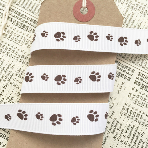 16mm Brown Paw Print White Ribbon - SweetpeaStore