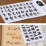 Distressed Brush Script Alphabet & Number Lettering Alphabet Clear Cling Stamps - SweetpeaStore