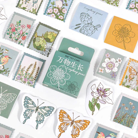 46 Butterfly Bird & Flower Stamp Mini Box Stickers - SweetpeaStore