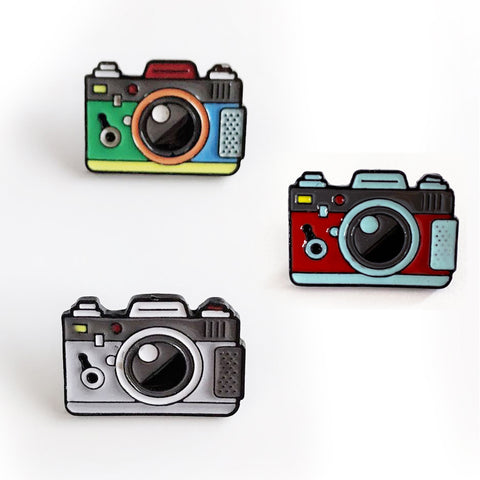 Camera Enamal Pin Badge - SweetpeaStore