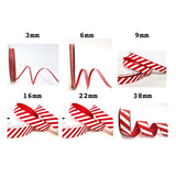 38mm Red & White Candy Cane Stripe Grosgrain Ribbon - SweetpeaStore