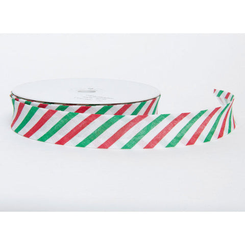 25mm Christmas Candy Stripe Red White & Green Folded Bias Binding - SweetpeaStore
