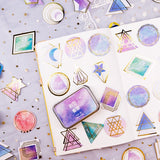Set of 60 Dreamy Gold Foiled Celestial Sticker Tin - SweetpeaStore