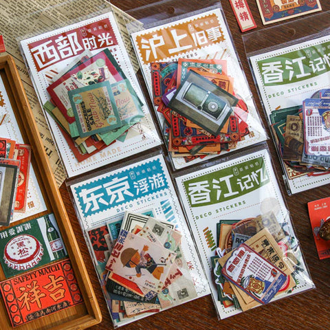 Set of 40 Vintage Retro East Asian Advertising Journalling Stickers -  4 Designs