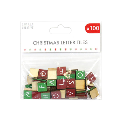 Set of 100 Simply Creative Christmas Wooden Letter Tiles - Red & Green - Craft - SweetpeaStore