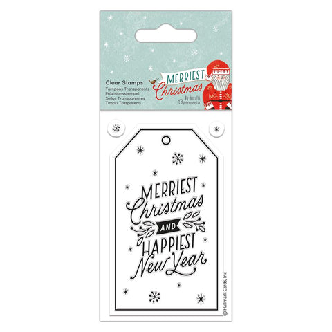 Merriest Christmas & Happiest New Year Clear Cling Stamp - SweetpeaStore