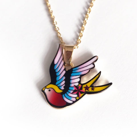 Tattoo Swallow Bird Gold Necklace - SweetpeaStore