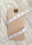 9mm Ivory Cream Nautical Grosgrain Ribbon with Navy Anchor Red Star - SweetpeaStore