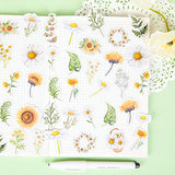 Set of 50 Daisy & Sunflower Leaf Floral Stickers - SweetpeaStore