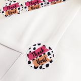 35 Thank You Dalmatian Print Peel-off Stickers - White Gloss Paper - 37mm - SweetpeaStore