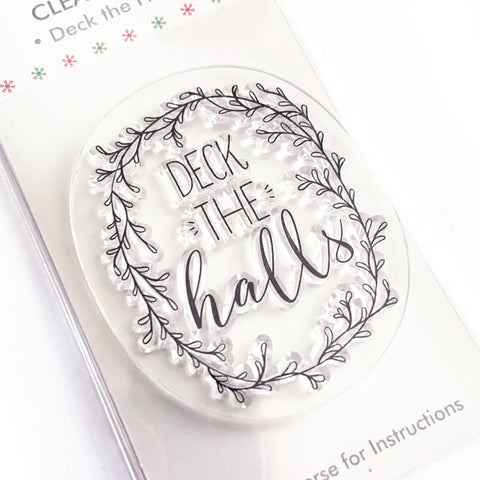 Deck The Halls Christmas Cling Clear Stamp - SweetpeaStore