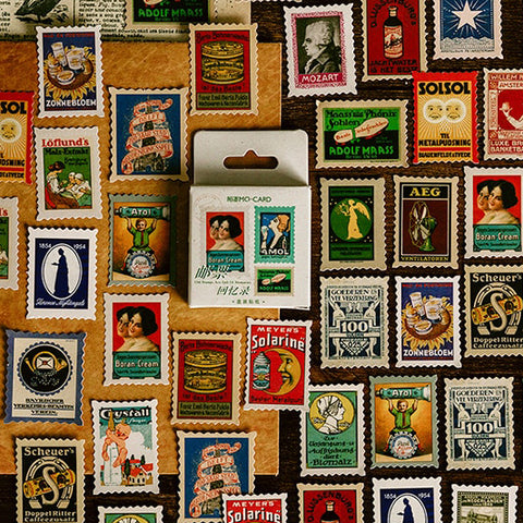 Set of 46 Vintage European Advertising Poster Stamps Mini Box Scrapbook Stickers - SweetpeaStore