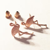 Brushed Rose Gold Pretty Kitsch Flamingo Stud Earrings - SweetpeaStore