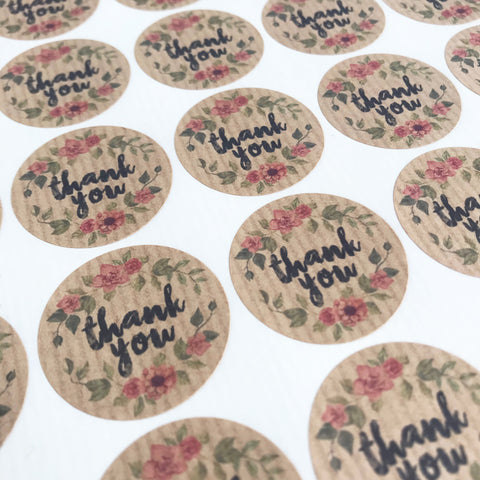35 Thank-You Pretty Floral Peel-off Stickers - Brown Ribbed Kraft Paper - 37mm - SweetpeaStore