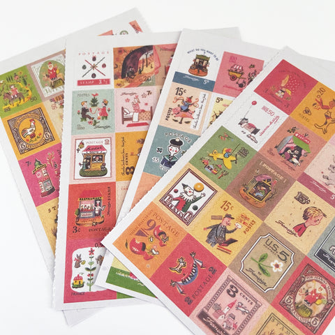 80 Vintage Francoise Postage Stamp Retro Childhood Stickers - SweetpeaStore