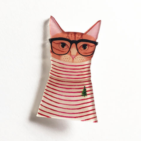 Quirky Geek Glasses Ginger Cat Plastic Acrylic Badge - SweetpeaStore